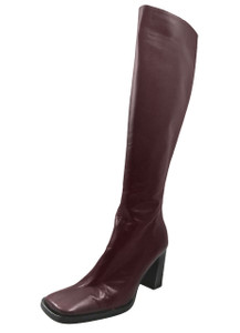 Dominici Women's 2036 Knee High Mid Heel Square Toe Boots, Bordo