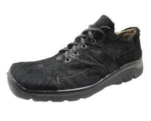 Low Tide Men's 25031 Square Toe Lace Up Black Sneakers in Leather and Pony