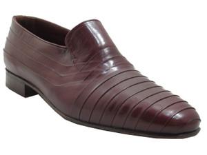 Via Veneto Men's 4325 Italian leather pleated Loafers in Bordo edgy design