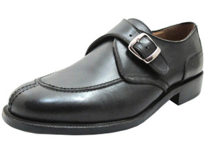 Lorenzi Men's 3333 Moc Toe Monk Strap with Buckle in brown and Black