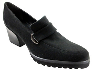 Antares 16603 Women's Italian Mid Heel Textile slip on Chunky Shoes