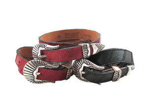 Women's Dan Post Western Lizard skin stitched Leather Belt in Green and Red