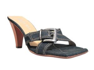 Simon Bay 9248 Women's Low Heel Denim Sandals,Square Toe