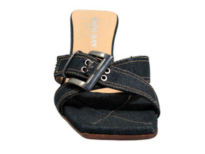 Simon Bay 9248 Women's Low Heel Denim Sandals,Square Toe