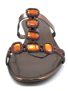 Bandolino Rosalie Women's Slip On Sandals With Stones In Brown