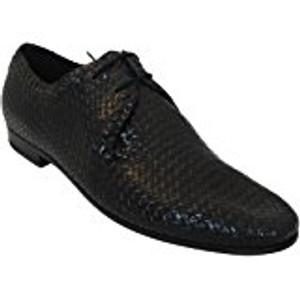 Davinci Men's V1223 Italian Lace Up Woven Leather Black Shoes