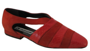 Fiordiluna Women's  Italian 703 Flat Shoes in Suede and Lizard