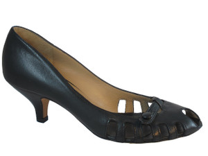 The Seller Italian Leather Summer Shoes Pep Toe  3646 Black