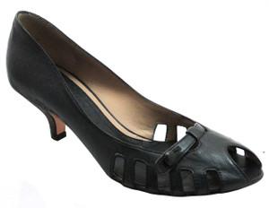 The Seller Italian Leather Summer Shoes Pep Toe  3646 Black