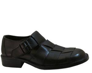 Men's Italian Davinci 4556  Leather Close Toe Sandals  in Black and Brown