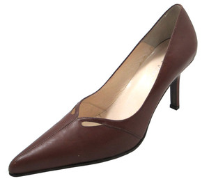 Women's Italian Leather Pointy Toe Low Heel Shoes 4007, Brown