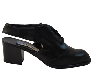 Colors Women's 108 Italian Leather Sling back Low Heel Shoes, Black