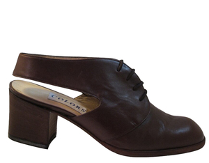 Colors Women's 108 Italian Leather Sling back Low Heel Shoes, Brown