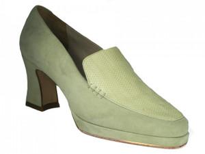 Davinci Women's  Square Toe Italian Leather/Suede Shoes 4107, Black Or Off White