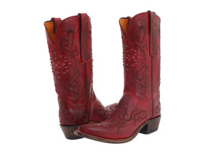 Women's Lucchese N4724.S53 Red Burnished Goat Cowboy Boots