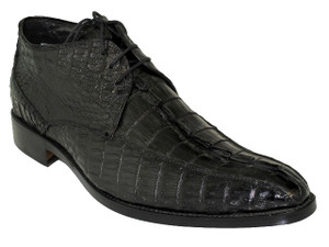 Toscana 6142 Men's Dressy Crocodile Horn Black