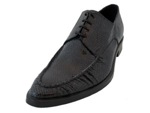 Men's Doucals lace up Italian snake Leather 7010 charcoal color