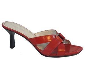Romanelli Women Italian Mid Heel Slide Sandals 9408,Red