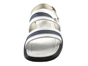Davinci 9969 Men's Italian Denim Fabric Back Strap Sandal, White, Blue