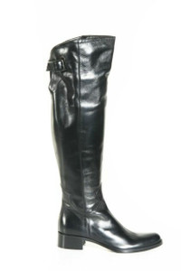 Women's Flat Italian Over the Knee Boots Black 609338 by Le Pepe