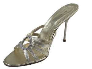 Davinci 1541 Women's High Heel Italian Slide Sandal Light Gold