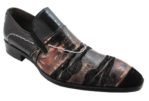 Davinci designer Men's Dressy Italian Slip-on Unique print leather 2511