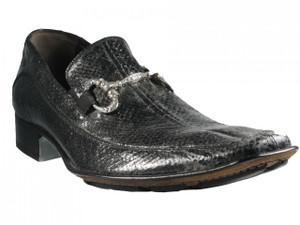 Men's 2842 Slip-On Dressy Snake Leather Shoes Italian designer Mauron Black