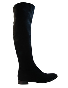 Julie Dee 4467 Women's Italian Designer Knee-High Flat Black Suede