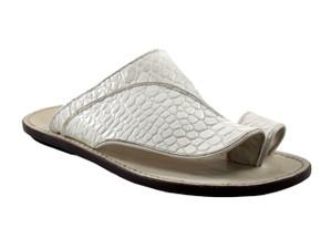 Davinci Men's Italian Leather Push-Toe Sandals 473 In White