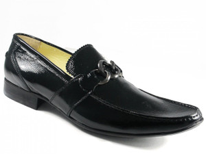 Men's Slip-on Dress Shoes Italian Industria Italiano 70162 Black Wrinkled