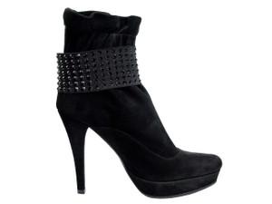 Albano 950 Women's Italian Ankle High Heel Boots in Black Suede