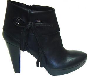 The Seller 1056 Women's  Leather Italian Designer Ankle  Boot Black