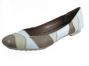 Women's Italian Flat Leather Two tone Beige/Off white Shoes Bala By Davinci