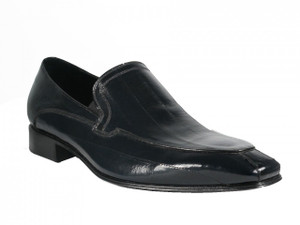 L.Lancio Men's Eel Skin Slip-on Italian Shoes 6692 Black, Blue