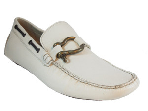Men's Driving moc White Rubber Sole Shoes By Bacco Bucci Ramos