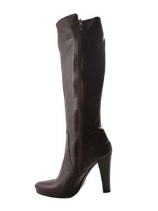 Albano Women's Italian Designer Knee High Boots 818, Dark Brown