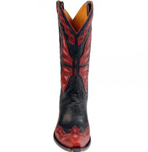 Women's Old Gringo L-026-44 Monarca Black/Red/Pink Cowboy Boots