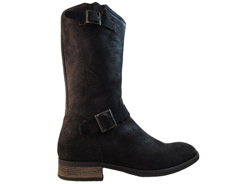 Davinci Italian Dressy/Casual Brushes Suede Black Leather Round Toe Mid Calf Boots Forte1085