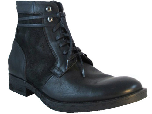Doucal's 1093 Men's Italian Leather/Suede Boots, Black