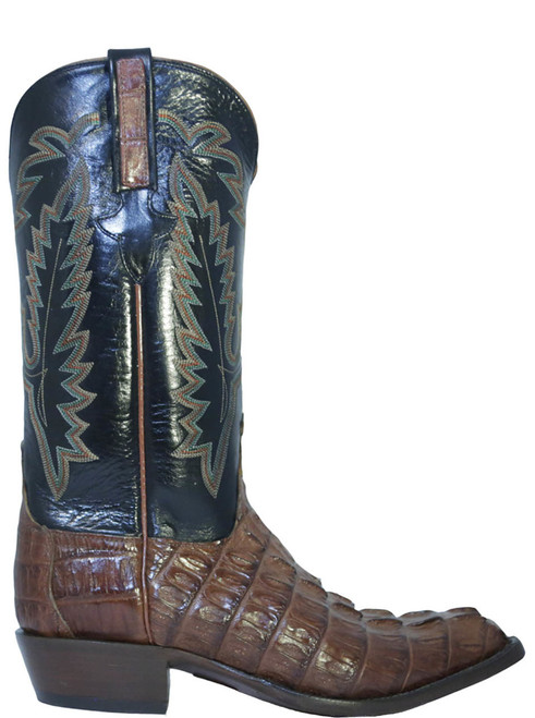 Lucchese Classic L1326.23 Dark navy leather contrasts with beautiful warm cognac crocodile