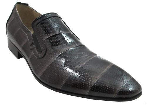 Carlo Ventura 1143 Men's Italian Dressy Evening Perforated Leather Shoes Black