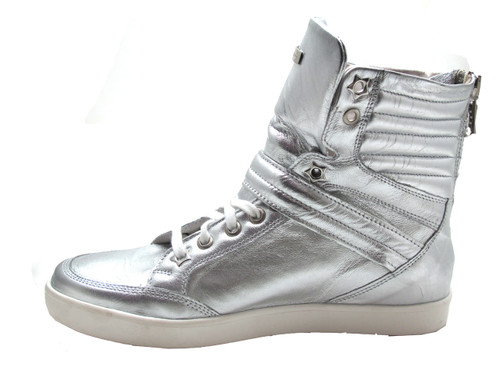 Albano1013 Women's Fashion High Top Sneakers Silver