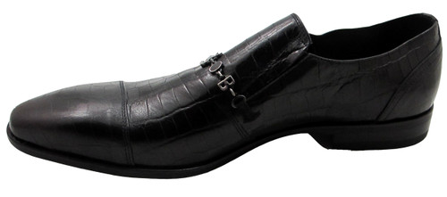 Bagatto Men's Dressy Italian Mock Crocodile look Slip on shoes 3270 Black