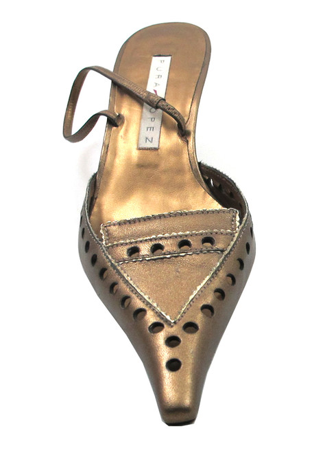 Pura Lopez 305 Pointy Toe Low Heel Spanish Pumps with back strap in Bronze