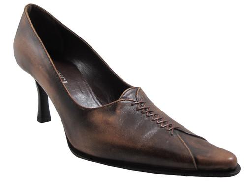 Davinci 73593 Women's Italian Mid Heel Pumps in Brown