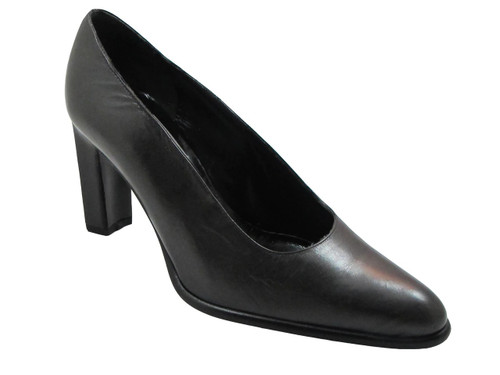 Luc Matisse 0162 Women's Italian Leather Mid Heel Pointy toe Shoes, Black