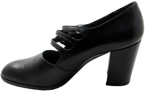 Enric Navaro 4241 Chunky Black Mid Heel Italian Pumps with strap and buckles