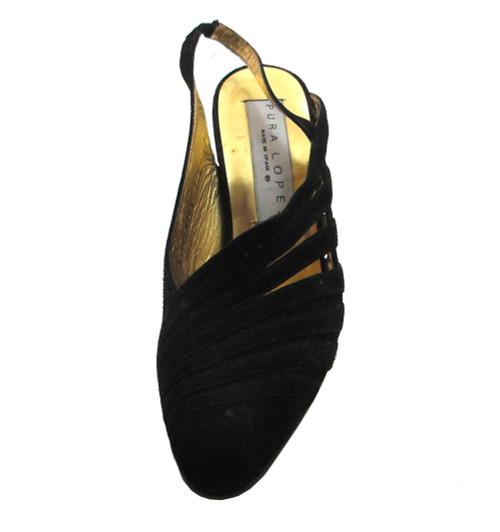 Pura Lopez 6099 Women's Pointy toe sling back mid heel Pumps in Black Suede