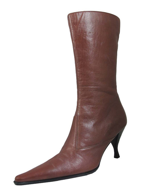Ramirez 12888 Mid calf Mid heel pointy toe boots in black and brown