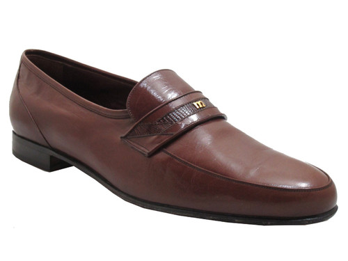 Via Veneto Men's 12250 Italian loafers with lizard skin in black and brown